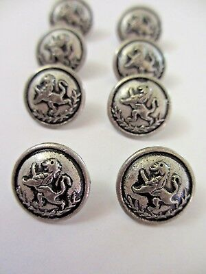 """9/16""""  Antiqued SILVER Tone  Military LION  Metal Shank Back Buttons (8)"""