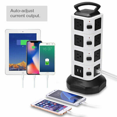 14 Outlet 4 USB Port Power Strip Tower Surge Protector Electric Charging Station