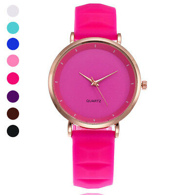 Women Lady Girl Wrist Quartz Watch Round Luxury Silicone Ultra-thin Fashion Gift
