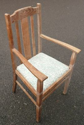 Antique Arts & Crafts oak wood chair with fabric seat