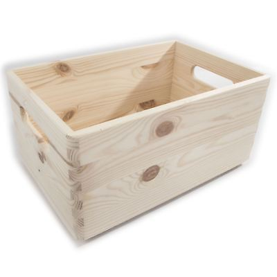 Medium Wooden Toy Chest Trunk Storage Box With Handles / Non-lidded & Unpainted