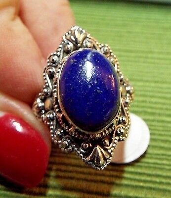 * LAPIS LAZULI * Ring, ORNATE SETTING in .925 Sterling Silver Sz 9