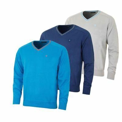 60% Off Rrp Island Green Golf Mens Pullover V Neck Cotton Jumper Golf Sweater