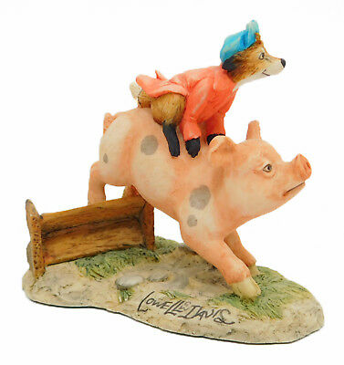 Lowell Davis Figurine 1991 HOG WILD Schmid #21008 Fox Fire Farm Club Fox on PIg