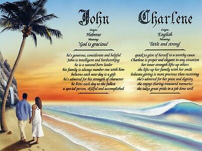 """""""Couple on Beach 2"""" Double Name Meaning Print (Love Romance African-American)"""
