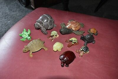 Turtle collectibles lot stone celluloid and metal ones  Box #1022