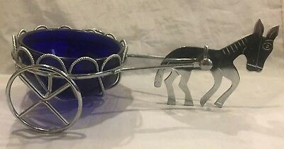 Vintage 50'-60's Donkey Cart Candy Dish Chrome/Aluminum with Cobalt Blue Glass