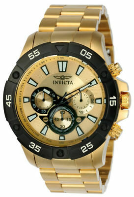22789 Invicta 48mm Men's Pro Diver Gold Dial Yellow Steel Chrono Watch