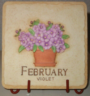 """Sarah's Attic Retired Forever Bouquets """"Feb. Violet"""" w stand/tile MIB, COA"""
