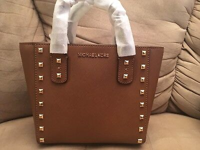 5cbca7b52a74 Nwt Michael Kors The New Sandrine Leather Stud Small Crossbody Bag In  Luggage