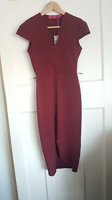 New With Tags Stunning Boohoo Deep Red Cocktail Bodycon Evening Dress Size 8