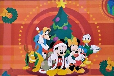 Greeting CARD UNUSED Christmas Card Tree Disney Mickey Mouse Minnie Mouse Donald
