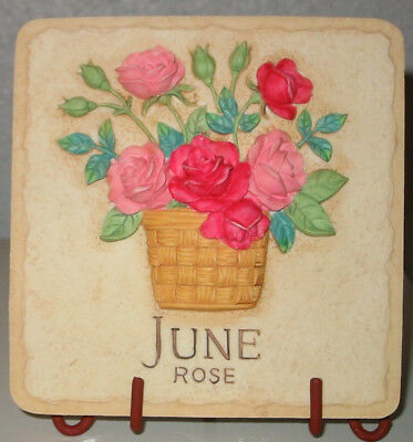 """Sarah's Attic Retired Forever Bouquets """"June. Rose"""" w stand/tile MIB, COA"""