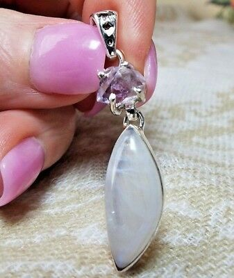 "* MOONSTONE AND AMETHYST HERKIMER ""DIAMOND"" QUARTZ PENDANT * .925 Solid Sterling"