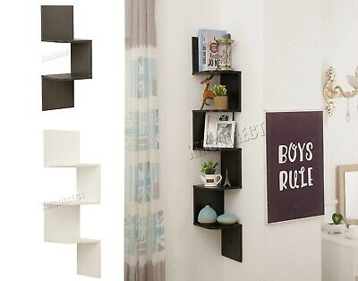 WestWood Floating Corner Shelves - 3D Wall Mounted ZigZag Shelf - 2/3/5 Tier