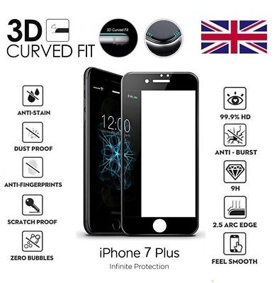 For iPhone 7 Plus 3D Curved Full Cover Screen Protector Tempered Glass Black