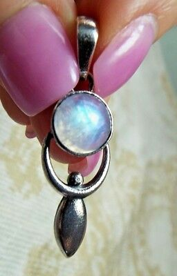 * RAINBOW MOONSTONE GODDESS OR ANGEL PENDANT * .925 Solid Sterling Silver