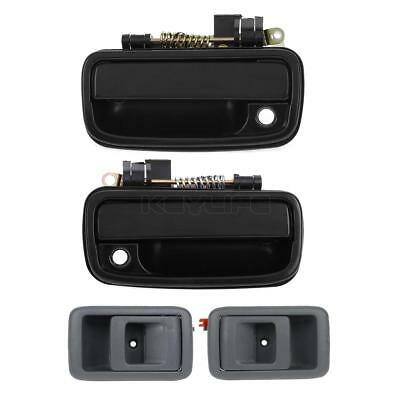 4Pcs Gray Inside & Black Outside Front LH RH Door Handle for 01-04 Toyota Tacoma