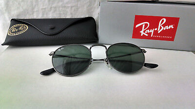 f54bad581c3 Authentic Ray-Ban Round Metal RB3447 029 50mm Matte Gunmetal Frame Green  Lenses