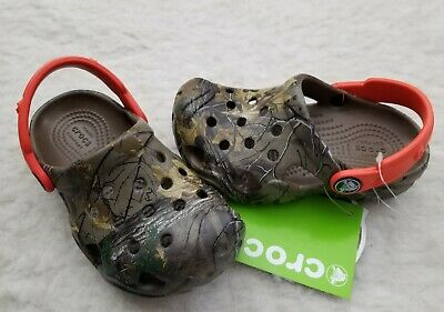 c4114d834394dc NWT CROCS Realtree Extra Kids Boys Clogs Shoes Walnut Tangerine SELECT SIZE