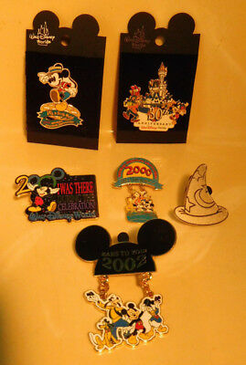 6 Disney trading Mickey pins lot 2000-02 convention & others 2 with dangles