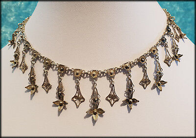 Antique French Victorian Solid Silver Filigree Drop Collar Necklace - C1864/1893