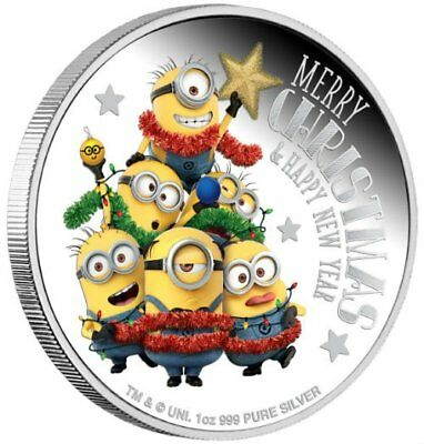 MINION MADE DESPICABLE ME SEASON'S GREETINGS 2018 1 oz $2 Proof Silver Coin NIUE