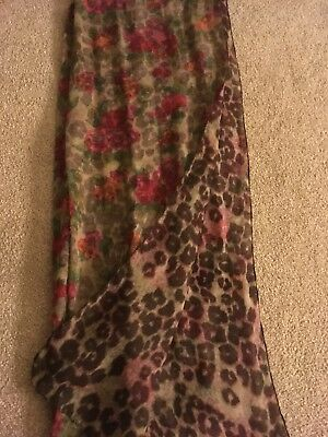 Ladies Girls Leopard Print And Floral Print Scarf