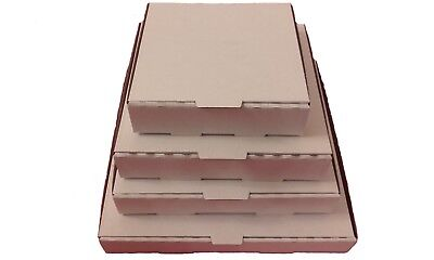 100 Plain White Pizza Boxes,Takeaway Pizza Box,Postal Boxes - Multiple Sizes