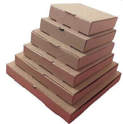 100 Plain Brown Pizza Boxes,Takeaway Pizza Box,Postal Boxes - Multiple Sizes