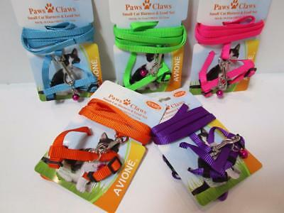 Small cat kitten  adjustable nylon walking harness & lead set chest 22-32cm