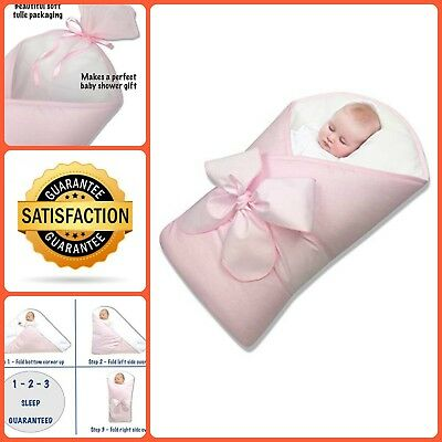 New Born Babies Sleep Wrap Swaddle Warm Cotton Fabric Blanket Pink 0 To 4 Months