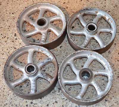4 Antique Small Industrial Cast Iron Vintage Steampunk Wheels Make A Cart Table
