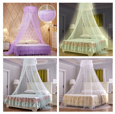 White Purple Yellow Lace Bed Mosquito Netting Mesh Canopy Round Dome Bedding Net