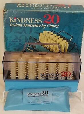 Vtg 1968 Clairol Kindness 20 Instant Hairsetter Clips Box Hot Rollers No Cord