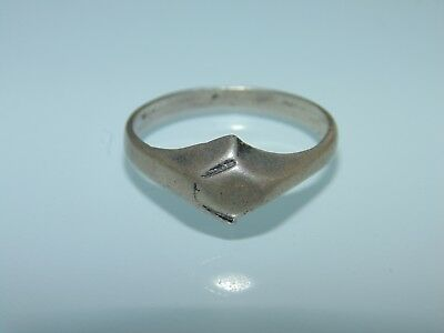 Vintage Estate Sterling Silver Signet Pinkie Ring US Size 8.25 925 Jewelry