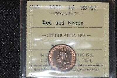 1935 Canadian Small Cent Iccs Ms Red&brown