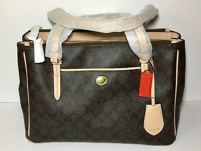Coach F26187 Peyton Signature Double Zip Carryall Tote Bag Brown (New with Tag)