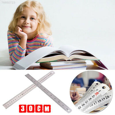 C839 30cm 12 inches Stainless Steel Metal Straight Ruler Precision Scale Double