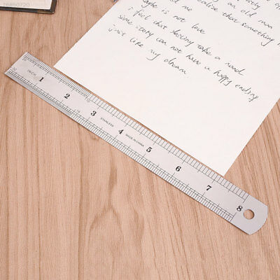 6958 20cm 8 inch Stainless Steel Metal Straight Ruler Precision Double Sided Sil