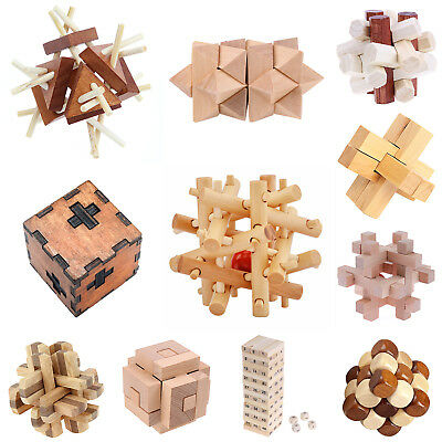 Wooden Kongming Luban Lock Brain Teaser Puzzle Child Adult Educational Game Toys