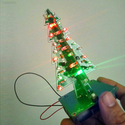 EA8C 7 Colors 3D Christmas Tree LED DIY Kit Three-Dimensional Green Christmas Gi