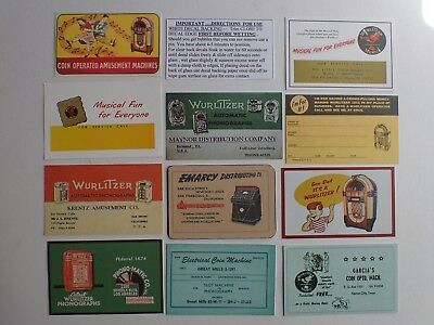 Usa Wurlitzer Jukebox Decals & Service Cards Vgc Free Fast Shipping + Tracking
