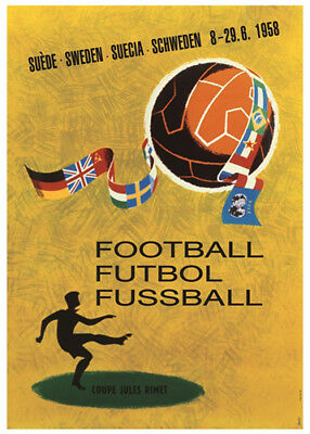 FIFA World Cup SWEDEN 1958 Soccer Football OFFICIAL EVENT POSTER Reprint Edition
