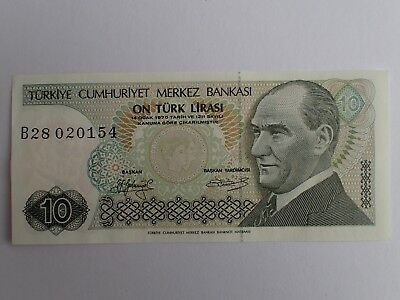 Republic Of Turkey Banknote 10 Lirasi 1970   Shipping With Tracking