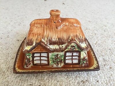 Antique Price Bros.england - Ye Olde Cottage Ware Lidded Cheese / Butter Dish