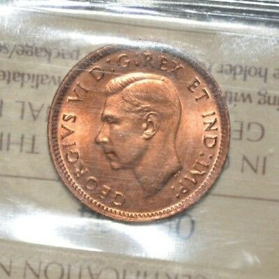 1947 Canadian Cent Iccs Graded Ms Red Nice Gem !