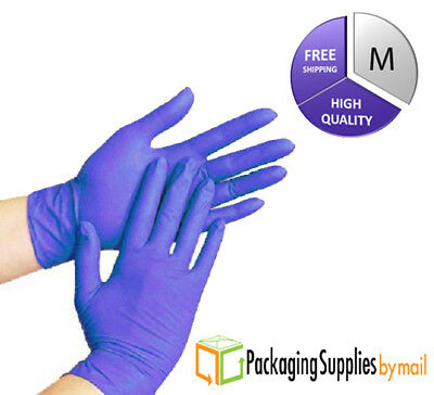 Blue Nitrile Disposable Gloves Powder Free Medical Exam Medium Size 200 Pcs