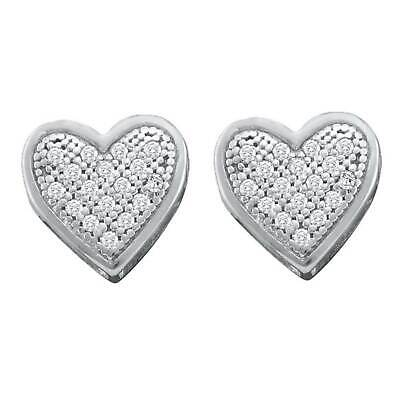 9a1c5c5e5 10K WHITE GOLD Diamond Heart Stud Earrings Micro Pave Diamond Screw ...