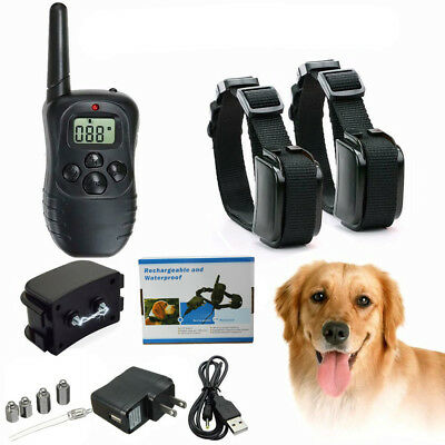 Waterproof Rechargeable Remote LCD Electric 2 Dog Training 100LV Shock Collar